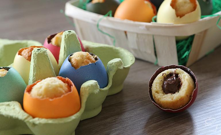 Kuchen-Ostereier mit Nutella-Füllung