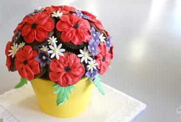 Cupcake-Strauß mit Blumentopf-Torte zum Muttertag