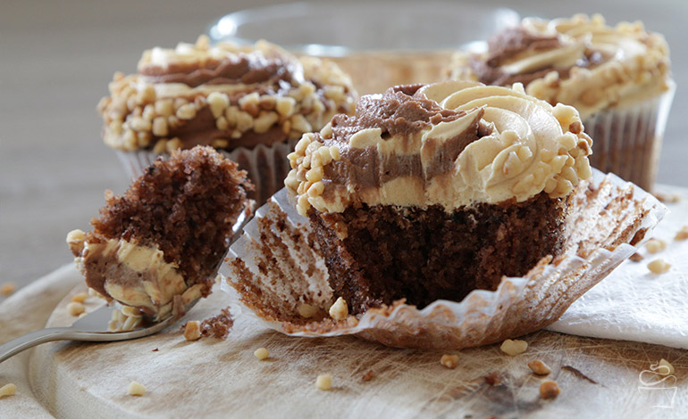 Haselnuss Nutella Karamell Cupcakes